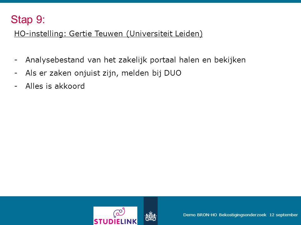 Demo BRON-HO Bekostigingsonderzoek 12 september HO-instelling: Gertie Teuwen (Universiteit Leiden) -Analysebestand van het zakelijk portaal halen en b