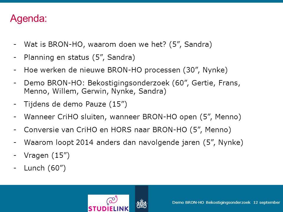 """Demo BRON-HO Bekostigingsonderzoek 12 september -Wat is BRON-HO, waarom doen we het? (5"""", Sandra) -Planning en status (5"""", Sandra) -Hoe werken de nieu"""