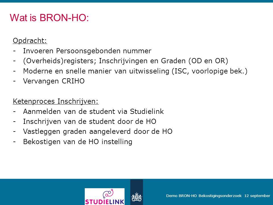 Demo BRON-HO Bekostigingsonderzoek 12 september Opdracht: -Invoeren Persoonsgebonden nummer -(Overheids)registers; Inschrijvingen en Graden (OD en OR)