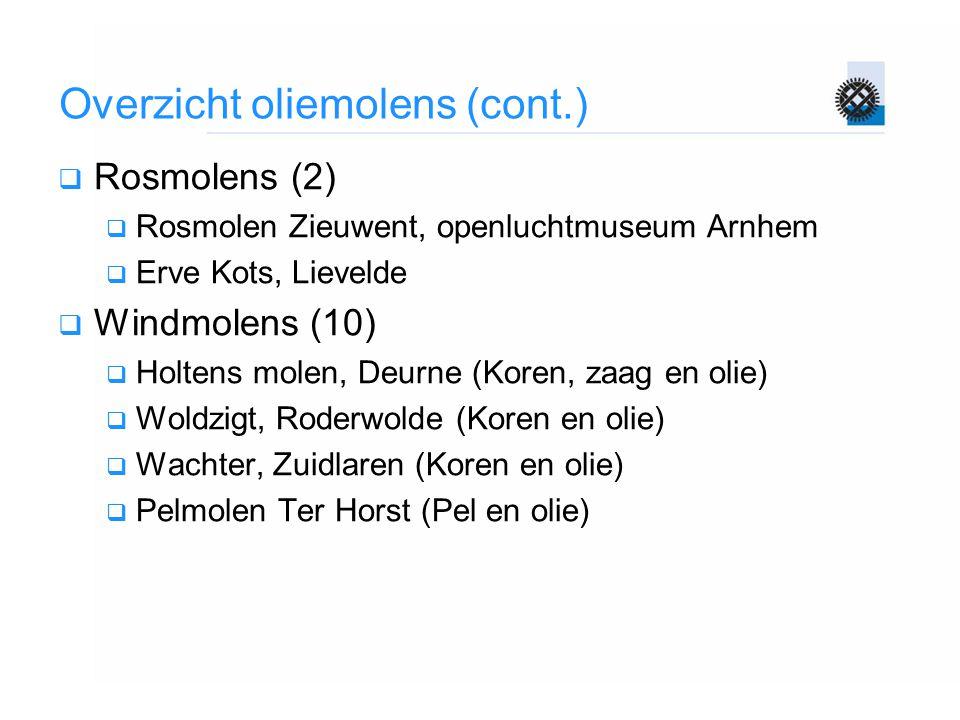 Overzicht oliemolens (cont.)  Rosmolens (2)  Rosmolen Zieuwent, openluchtmuseum Arnhem  Erve Kots, Lievelde  Windmolens (10)  Holtens molen, Deurne (Koren, zaag en olie)  Woldzigt, Roderwolde (Koren en olie)  Wachter, Zuidlaren (Koren en olie)  Pelmolen Ter Horst (Pel en olie)