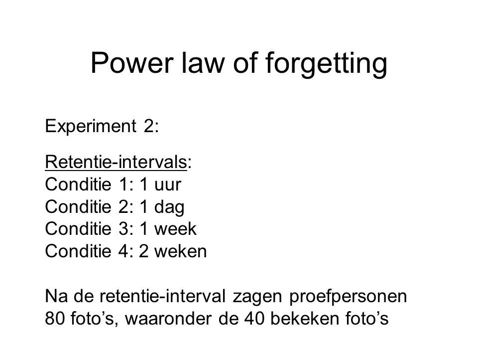 Power law of forgetting Experiment 2: Retentie-intervals: Conditie 1: 1 uur Conditie 2: 1 dag Conditie 3: 1 week Conditie 4: 2 weken Na de retentie-in