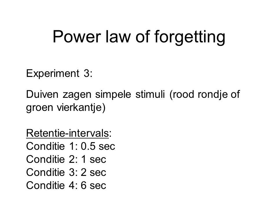 Power law of forgetting Experiment 3: Duiven zagen simpele stimuli (rood rondje of groen vierkantje) Retentie-intervals: Conditie 1: 0.5 sec Conditie