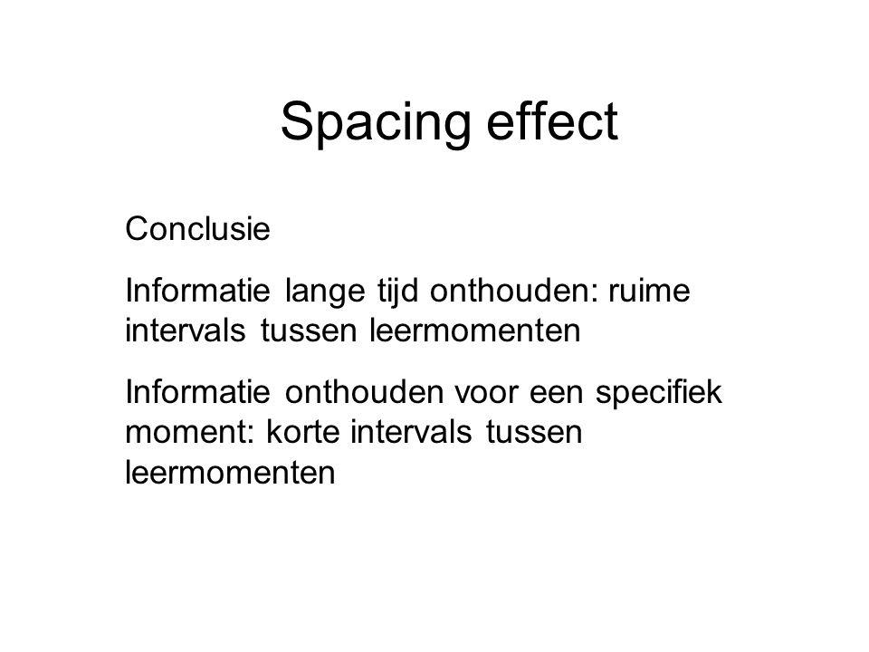 Spacing effect Conclusie Informatie lange tijd onthouden: ruime intervals tussen leermomenten Informatie onthouden voor een specifiek moment: korte in