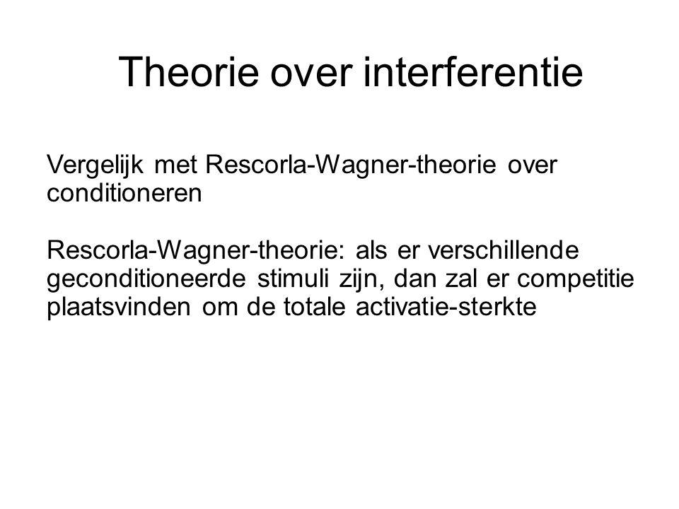 Theorie over interferentie Vergelijk met Rescorla-Wagner-theorie over conditioneren Rescorla-Wagner-theorie: als er verschillende geconditioneerde sti