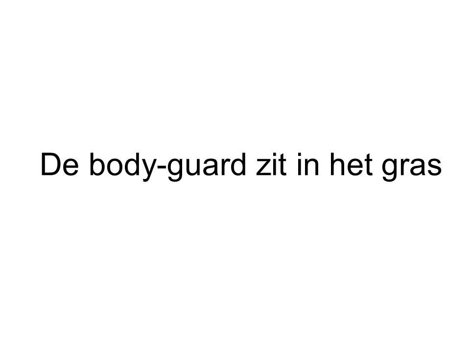 De body-guard zit in het gras