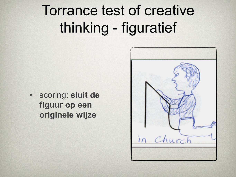 •scoring: sluit de figuur op een originele wijze Torrance test of creative thinking - figuratief