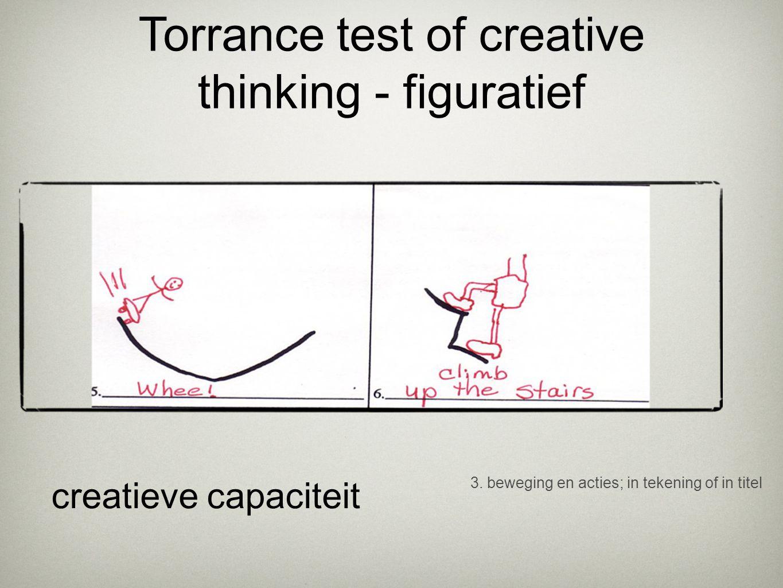3. beweging en acties; in tekening of in titel creatieve capaciteit Torrance test of creative thinking - figuratief
