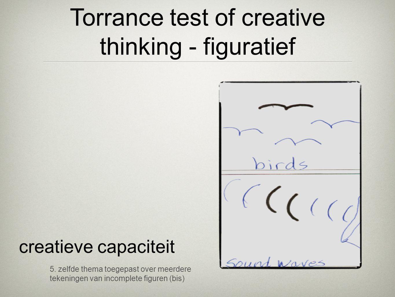 5. zelfde thema toegepast over meerdere tekeningen van incomplete figuren (bis) creatieve capaciteit Torrance test of creative thinking - figuratief
