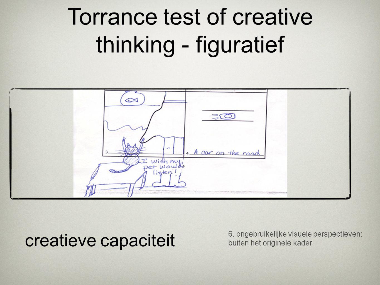 6. ongebruikelijke visuele perspectieven; buiten het originele kader creatieve capaciteit Torrance test of creative thinking - figuratief