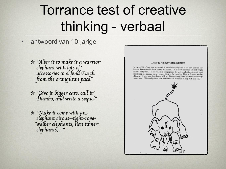 •antwoord van 10-jarige Torrance test of creative thinking - verbaal
