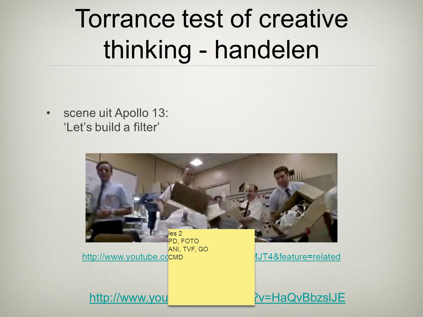 •scene uit Apollo 13: 'Let's build a filter' http://www.youtube.com/watch?v=Z3csfLkMJT4&feature=related Torrance test of creative thinking - handelen