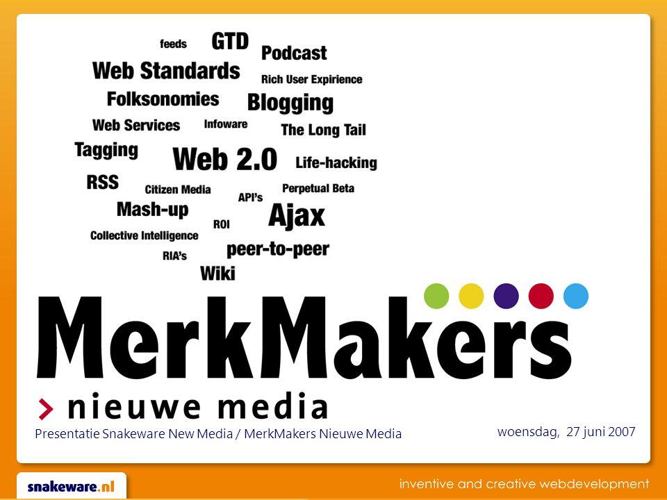 woensdag, 27 juni 2007 Presentatie Snakeware New Media / MerkMakers Nieuwe Media