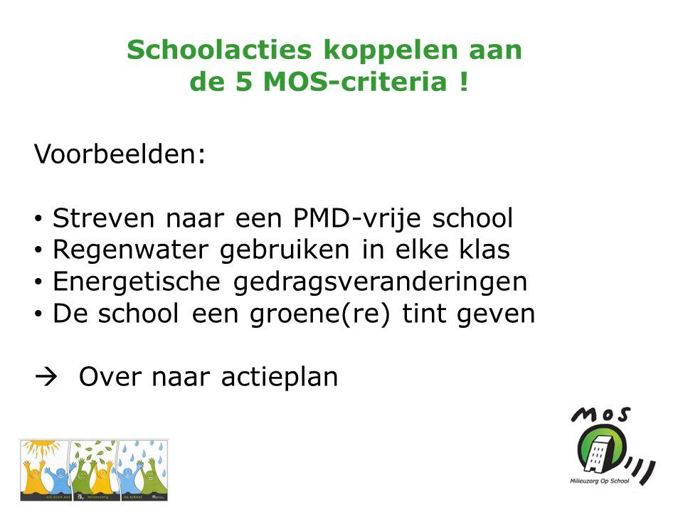 Schoolacties koppelen aan de 5 MOS-criteria .