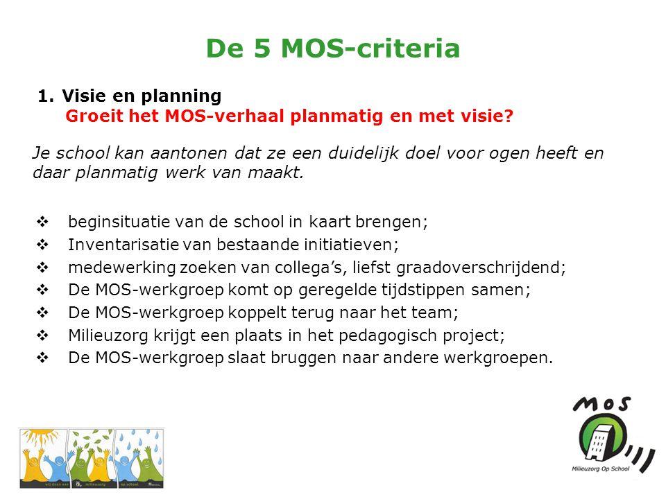 De 5 MOS-criteria 1.Visie en planning Groeit het MOS-verhaal planmatig en met visie.
