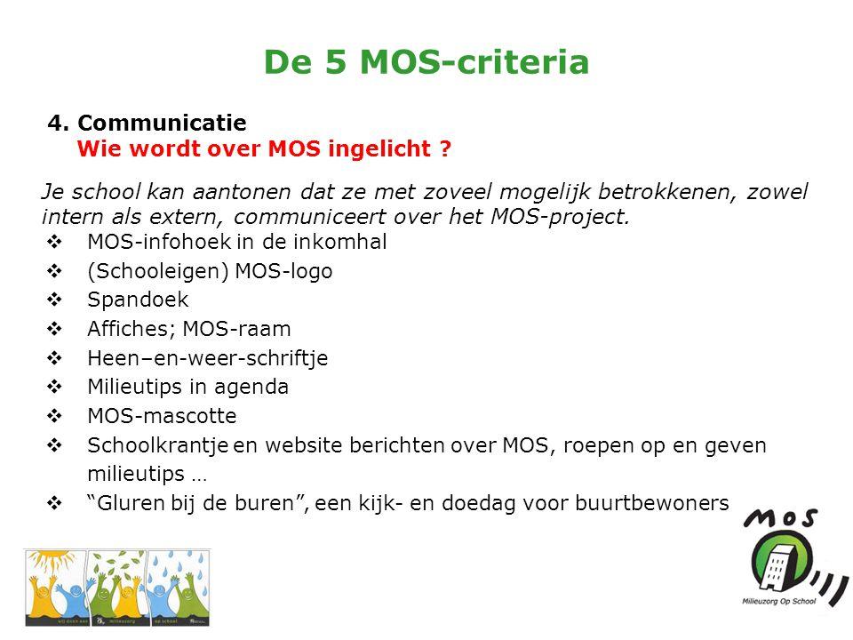 De 5 MOS-criteria 4. Communicatie Wie wordt over MOS ingelicht .