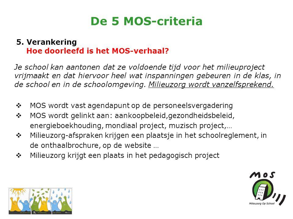 De 5 MOS-criteria 5. Verankering Hoe doorleefd is het MOS-verhaal.
