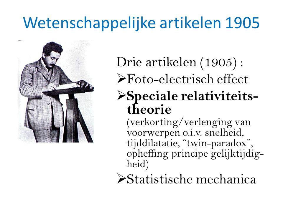 Wetenschappelijke artikelen 1905 Drie artikelen (1905) :  Foto-electrisch effect  Speciale relativiteits- theorie (verkorting/verlenging van voorwerpen o.i.v.
