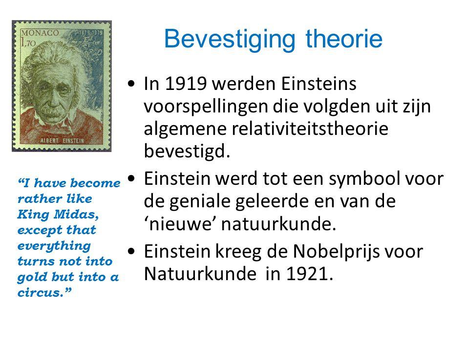 •In 1919 werden Einsteins voorspellingen die volgden uit zijn algemene relativiteitstheorie bevestigd.