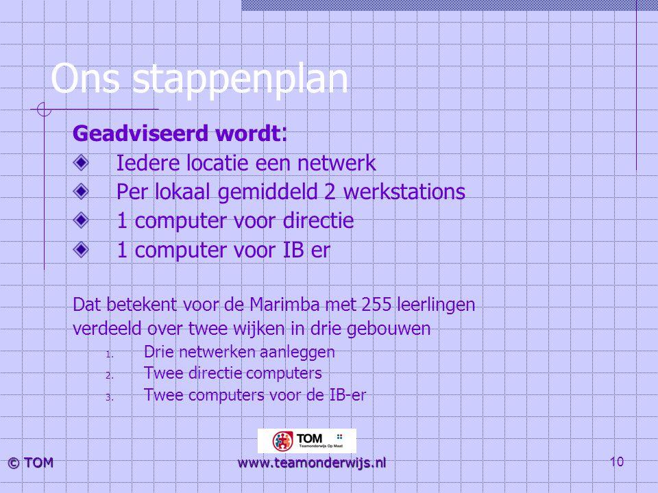 10 © TOM www.teamonderwijs.nl Ons stappenplan Geadviseerd wordt : Iedere locatie een netwerk Per lokaal gemiddeld 2 werkstations 1 computer voor direc