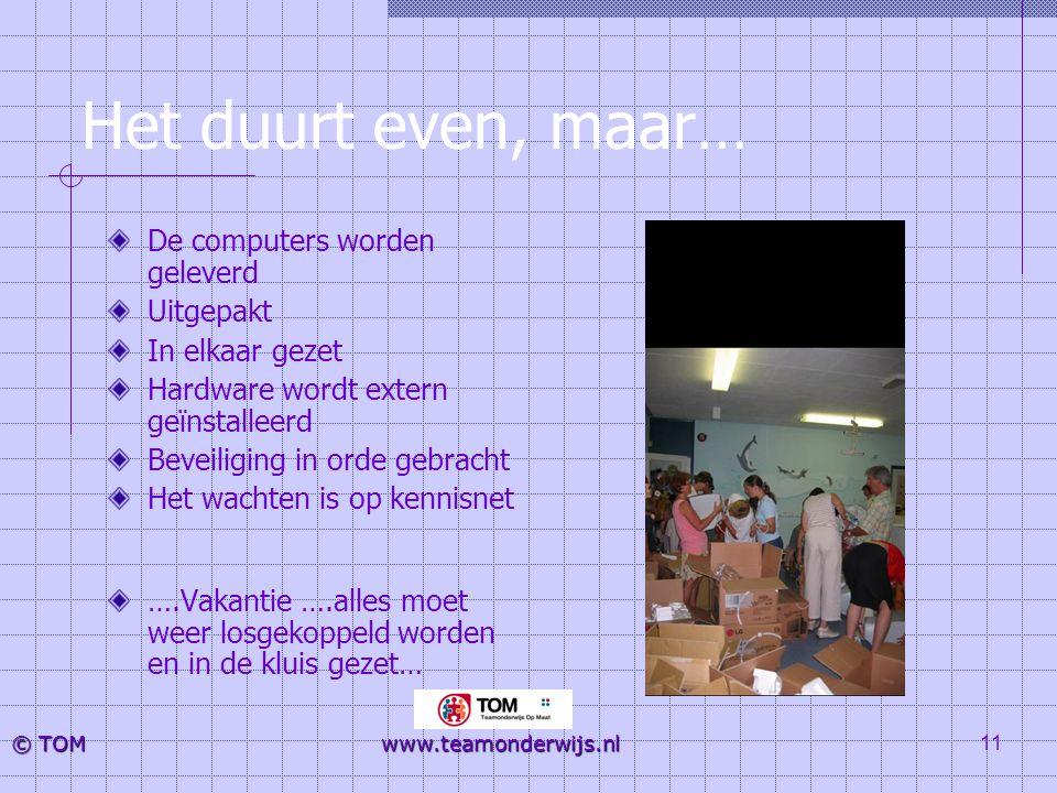 11 © TOM www.teamonderwijs.nl Het duurt even, maar… De computers worden geleverd Uitgepakt In elkaar gezet Hardware wordt extern geïnstalleerd Beveili