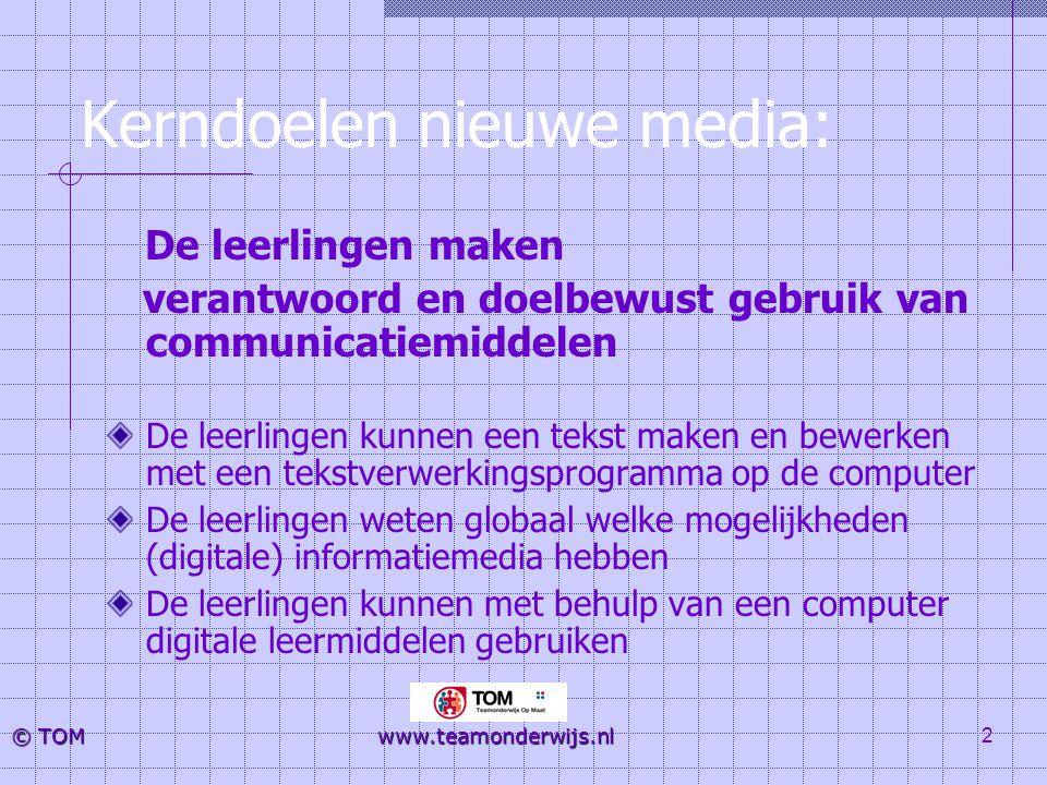 3 © TOM www.teamonderwijs.nl Dit betekent: Op leerling-niveau: kennis en vaardigheden verwerven in de omgang met computers Op leraarniveau: beheersen ICT vaardigheden Voor de zorgverbreding: ondersteuning voor leerlingen die het basisprogramma niet kunnen volgen, maar ook voor kinderen 'die wat meer aankunnen'