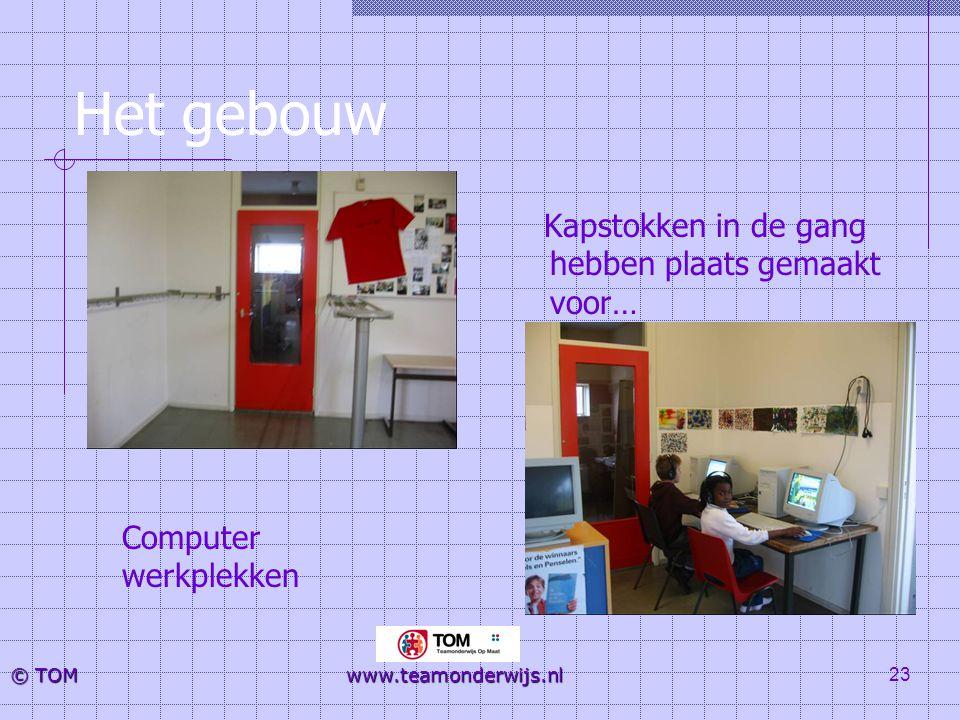 23 © TOM www.teamonderwijs.nl Het gebouw Kapstokken in de gang hebben plaats gemaakt voor… Computer werkplekken