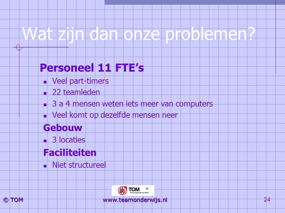 24 © TOM www.teamonderwijs.nl Wat zijn dan onze problemen? Personeel 11 FTE's  Veel part-timers  22 teamleden  3 a 4 mensen weten iets meer van com