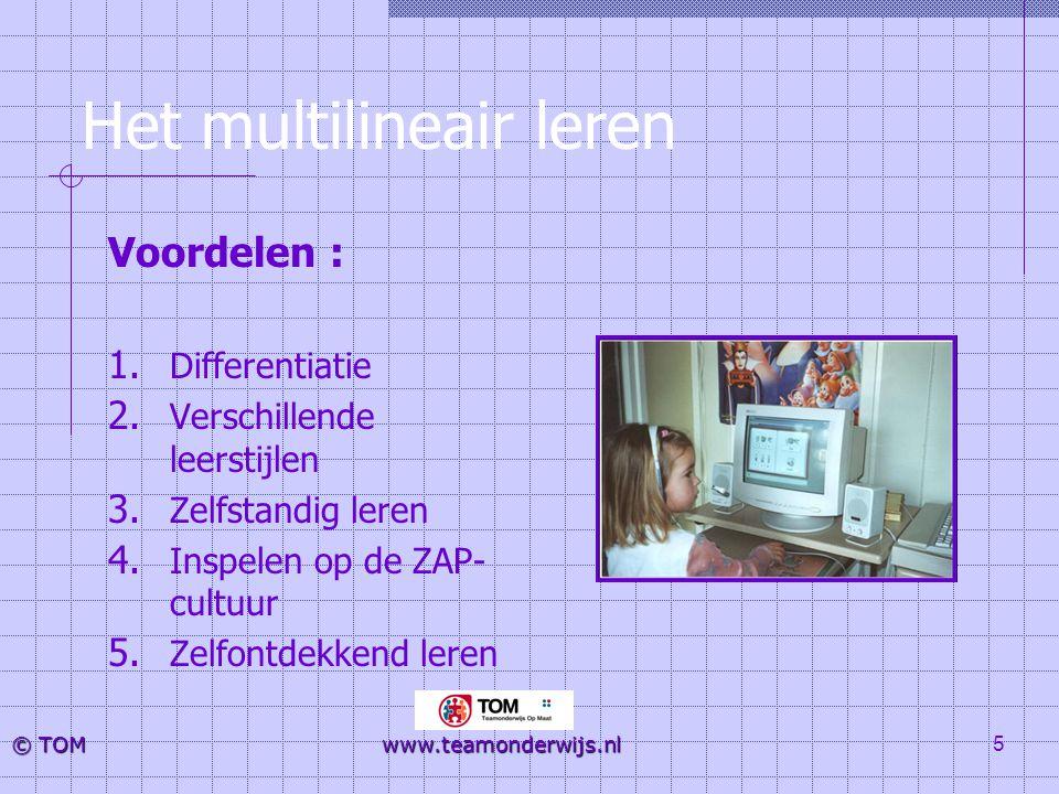5 © TOM www.teamonderwijs.nl Het multilineair leren Voordelen : 1. Differentiatie 2. Verschillende leerstijlen 3. Zelfstandig leren 4. Inspelen op de