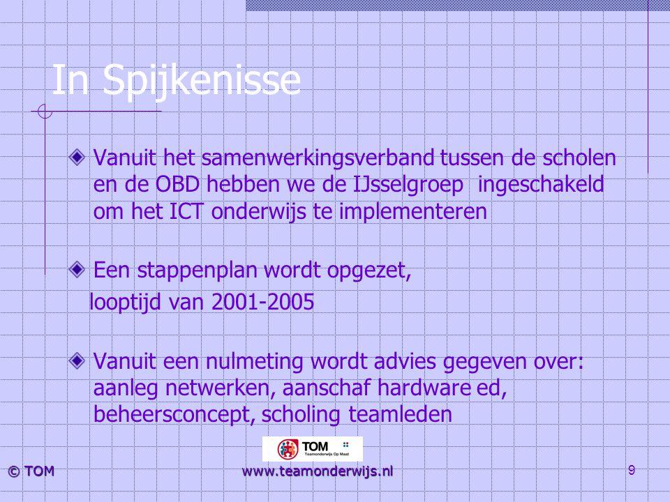 9 © TOM www.teamonderwijs.nl In Spijkenisse Vanuit het samenwerkingsverband tussen de scholen en de OBD hebben we de IJsselgroep ingeschakeld om het I