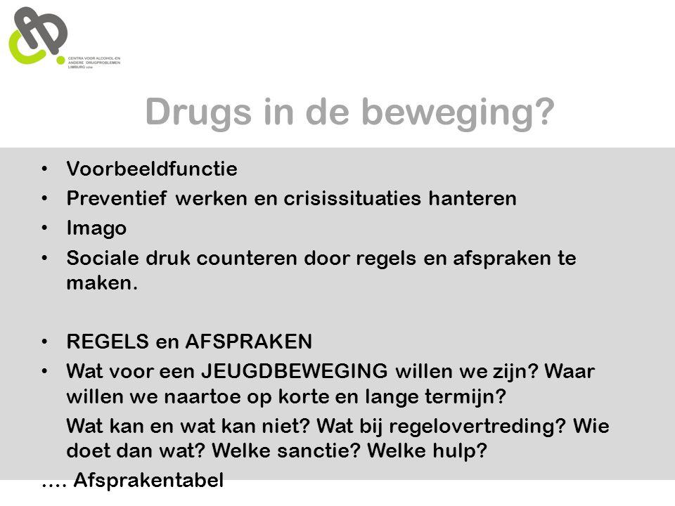 Drugs in de beweging? • Voorbeeldfunctie • Preventief werken en crisissituaties hanteren • Imago • Sociale druk counteren door regels en afspraken te
