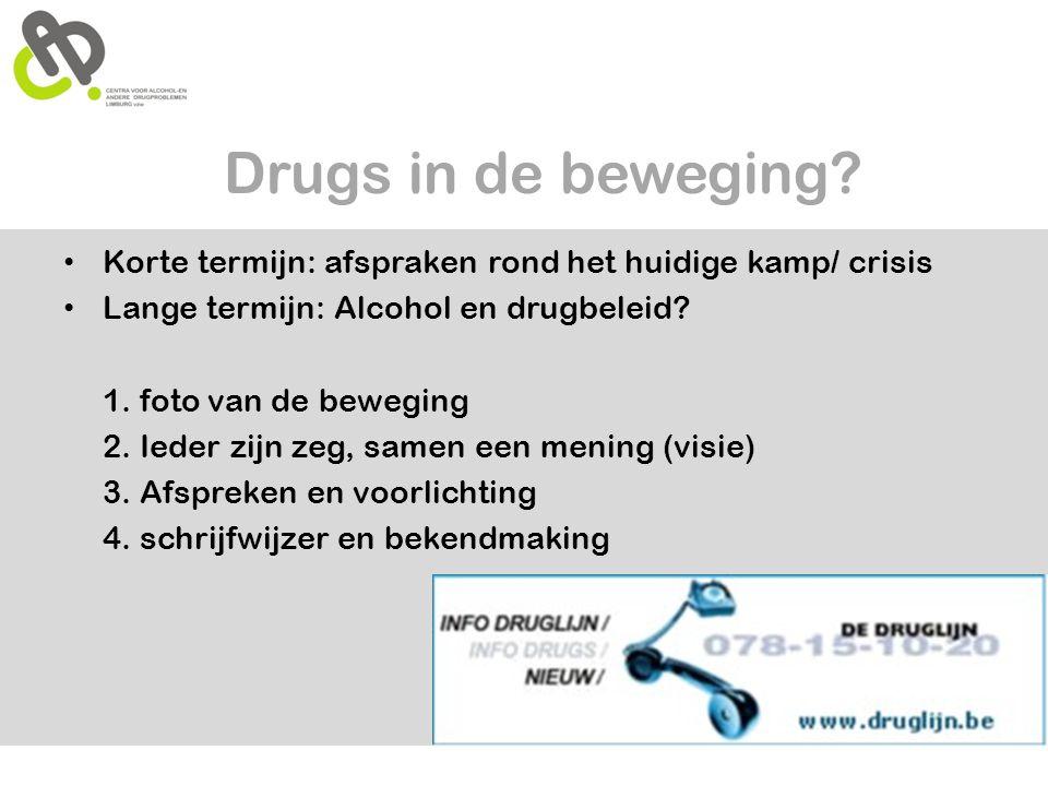 Drugs in de beweging? • Korte termijn: afspraken rond het huidige kamp/ crisis • Lange termijn: Alcohol en drugbeleid? 1. foto van de beweging 2. Iede