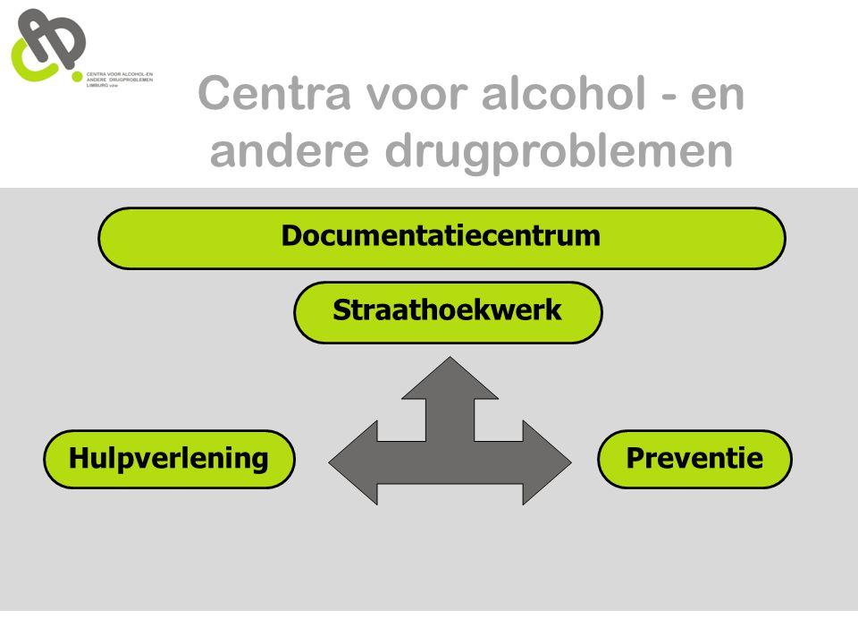 Centra voor alcohol - en andere drugproblemen Documentatiecentrum Straathoekwerk HulpverleningPreventie