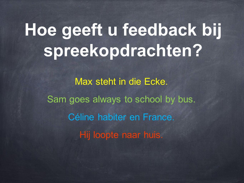 Hoe geeft u feedback bij spreekopdrachten? Max steht in die Ecke. Sam goes always to school by bus. Céline habiter en France. Hij loopte naar huis.