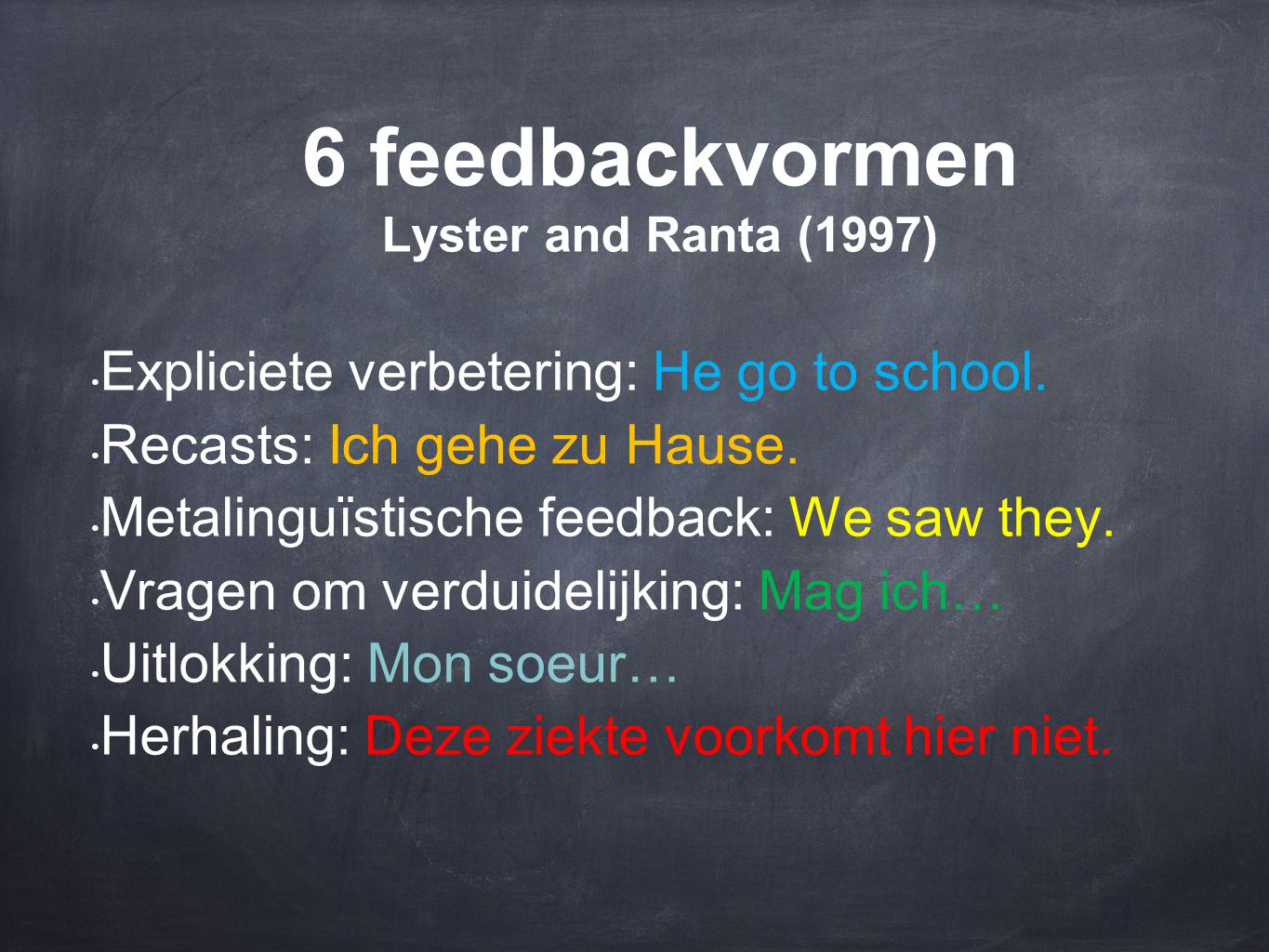 6 feedbackvormen Lyster and Ranta (1997) • Expliciete verbetering: He go to school. • Recasts: Ich gehe zu Hause. • Metalinguïstische feedback: We saw