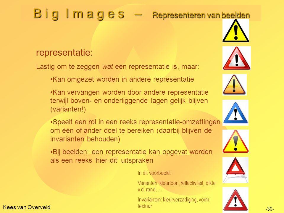 Kees van Overveld B i g I m a g e s – Representeren van beelden representatie: Lastig om te zeggen wat een representatie is, maar: •Kan omgezet worden in andere representatie •Kan vervangen worden door andere representatie terwijl boven- en onderliggende lagen gelijk blijven (varianten!) •Speelt een rol in een reeks representatie-omzettingen om één of ander doel te bereiken (daarbij blijven de invarianten behouden) •Bij beelden: een representatie kan opgevat worden als een reeks 'hier-dit' uitspraken -30- In dit voorbeeld: Varianten: kleurtoon, reflectiviteit, dikte v.d.