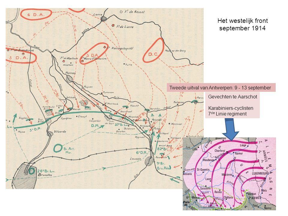 Het westelijk front september 1914 Gevechten te Aarschot Karabiniers-cyclisten 7 de Linie regiment Tweede uitval van Antwerpen: 9 - 13 september