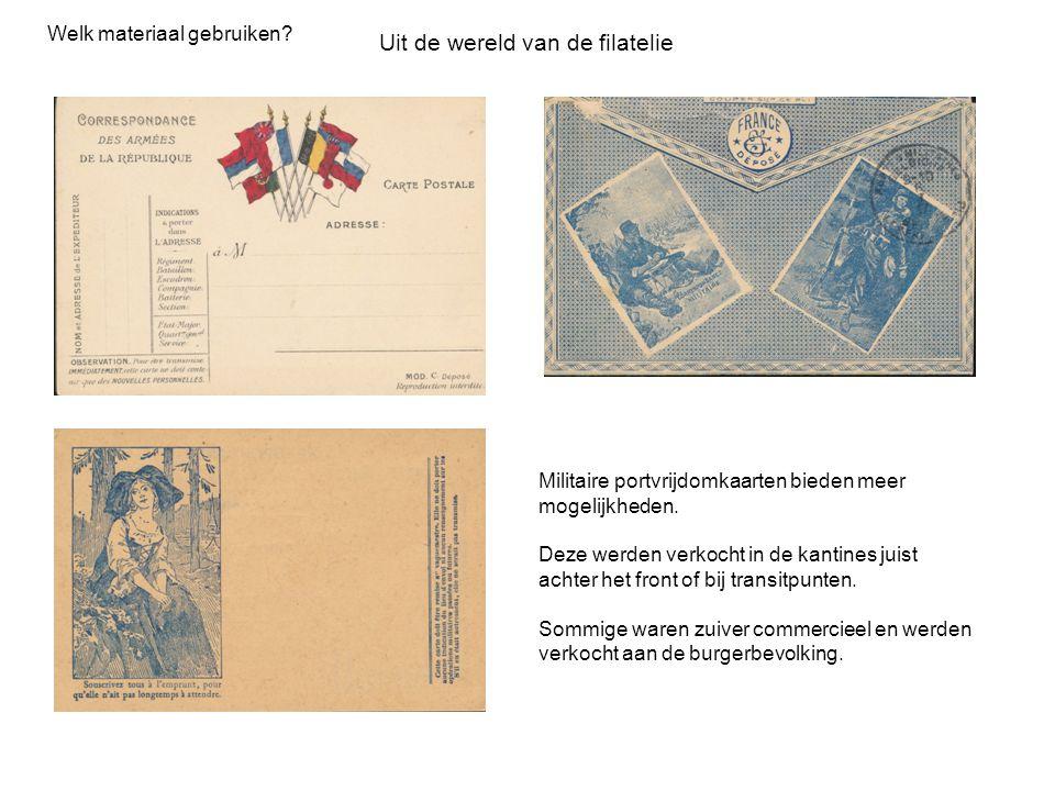 Militaire portvrijdomkaarten bieden meer mogelijkheden. Deze werden verkocht in de kantines juist achter het front of bij transitpunten. Sommige waren