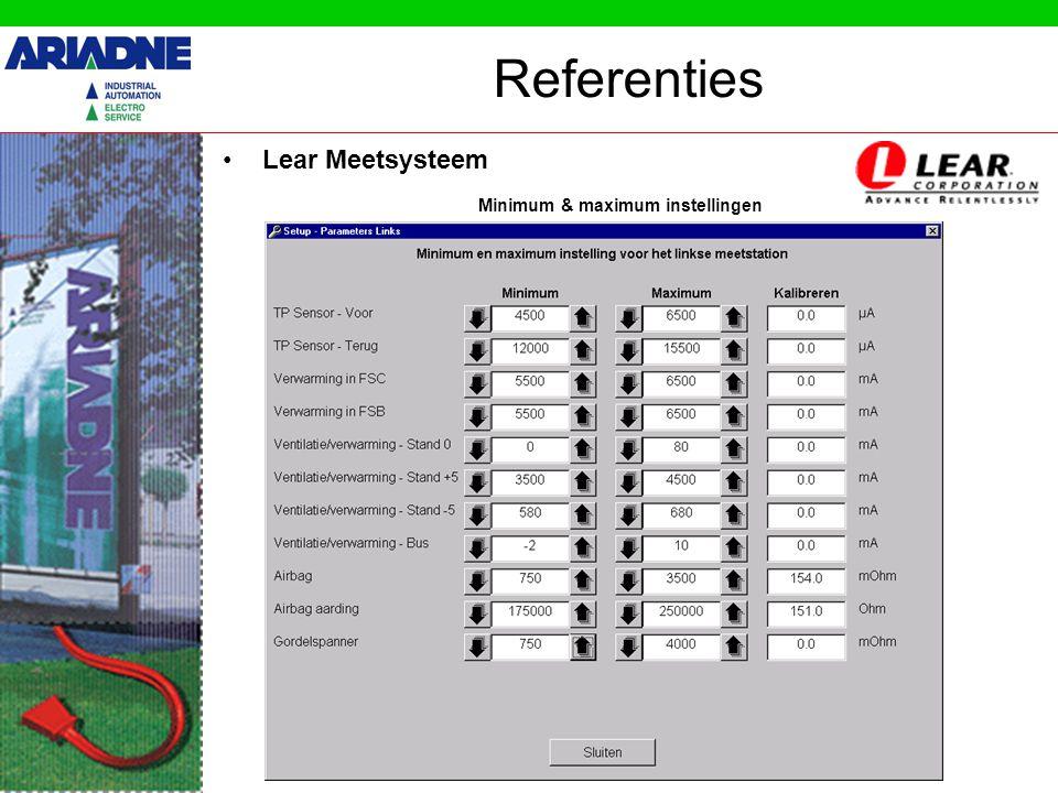 Referenties •Lear Meetsysteem Debug : Data tussen Pc en PLC