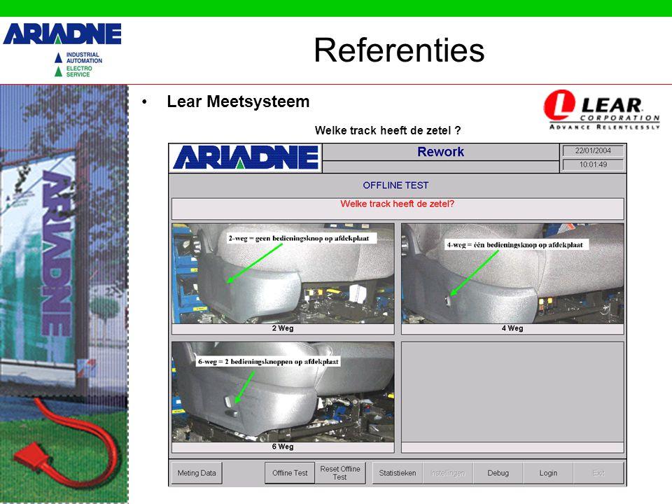 Referenties •Lear Meetsysteem Welke track heeft de zetel ?