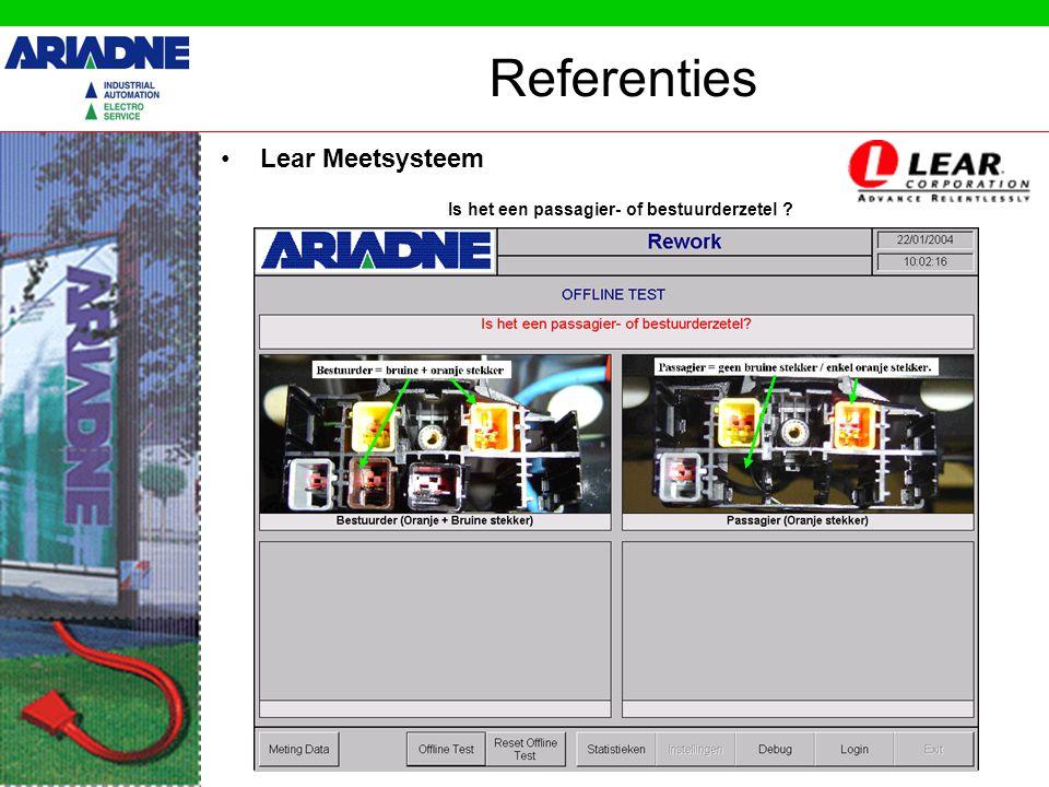 Referenties •Lear Meetsysteem Is het een passagier- of bestuurderzetel