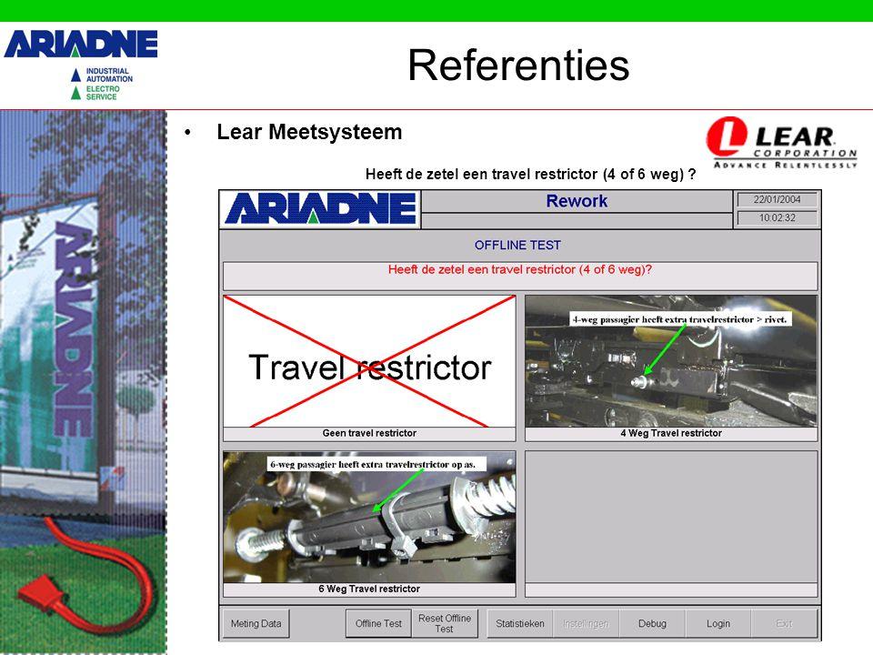 Referenties •Lear Meetsysteem Heeft de zetel een airbag ?