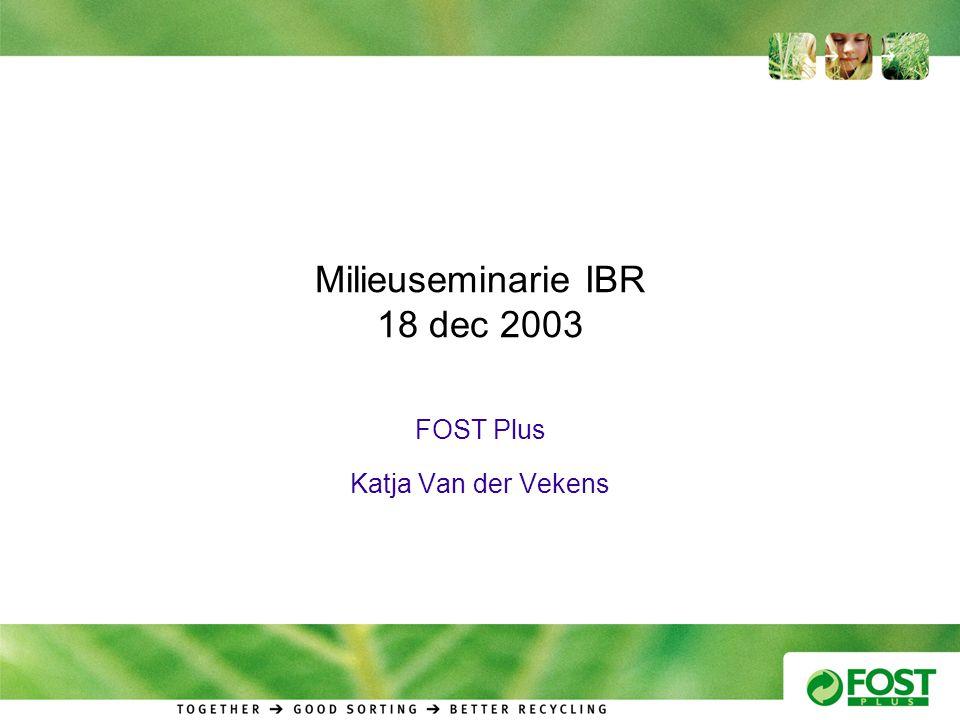 Milieuseminarie IBR 18 dec 2003 FOST Plus Katja Van der Vekens