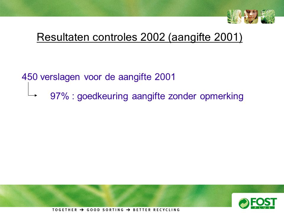 Resultaten controles 2002 (aangifte 2001) 450 verslagen voor de aangifte 2001 97% : goedkeuring aangifte zonder opmerking
