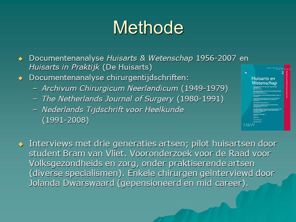 Methode  Documentenanalyse Huisarts & Wetenschap 1956-2007 en Huisarts in Praktijk (De Huisarts)  Documentenanalyse chirurgentijdschriften: –Archivum Chirurgicum Neerlandicum (1949-1979) –The Netherlands Journal of Surgery (1980-1991) –Nederlands Tijdschrift voor Heelkunde (1991-2008)  Interviews met drie generaties artsen; pilot huisartsen door student Bram van Vliet.