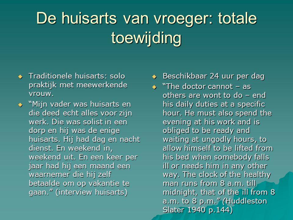 De huisarts van vroeger: totale toewijding  Traditionele huisarts: solo praktijk met meewerkende vrouw.