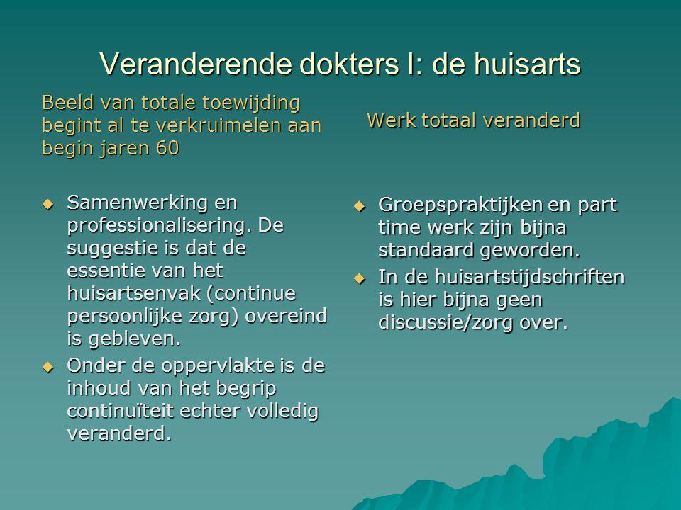 Veranderende dokters II: chirurgie Veel meer zorg en debat  Debat begint naar aanleiding van regulering van arbeidstijd door de overheid.