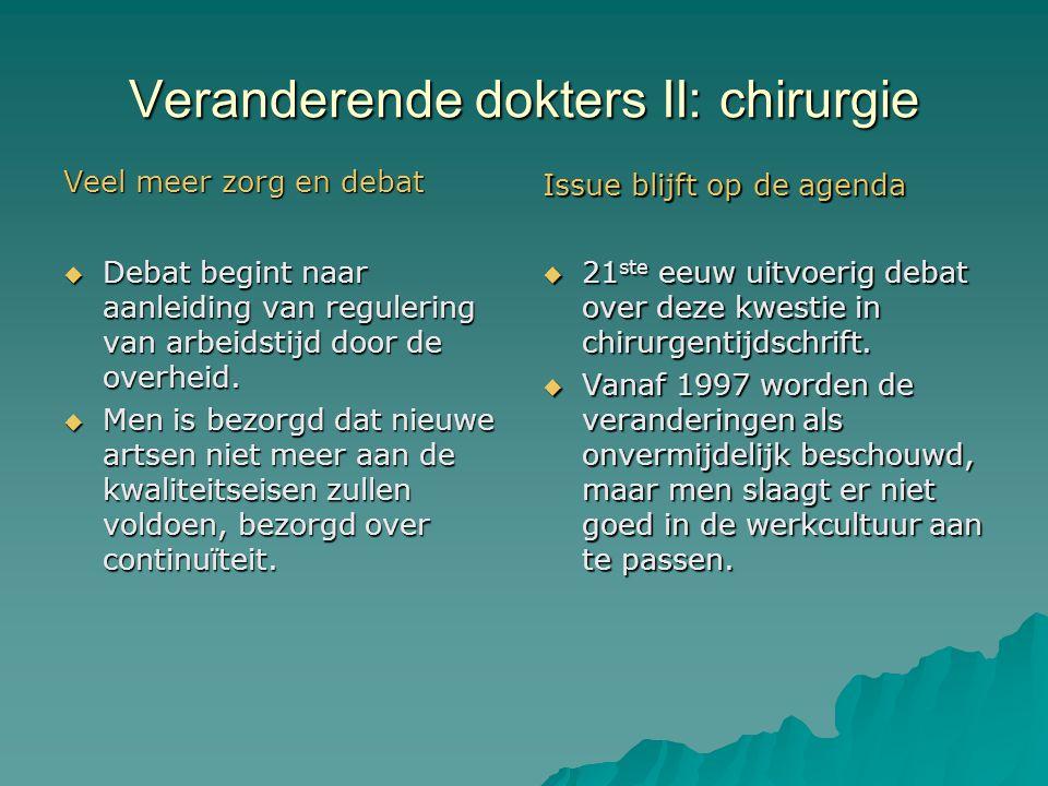 Veranderende dokters II: chirurgie Veel meer zorg en debat  Debat begint naar aanleiding van regulering van arbeidstijd door de overheid.  Men is be