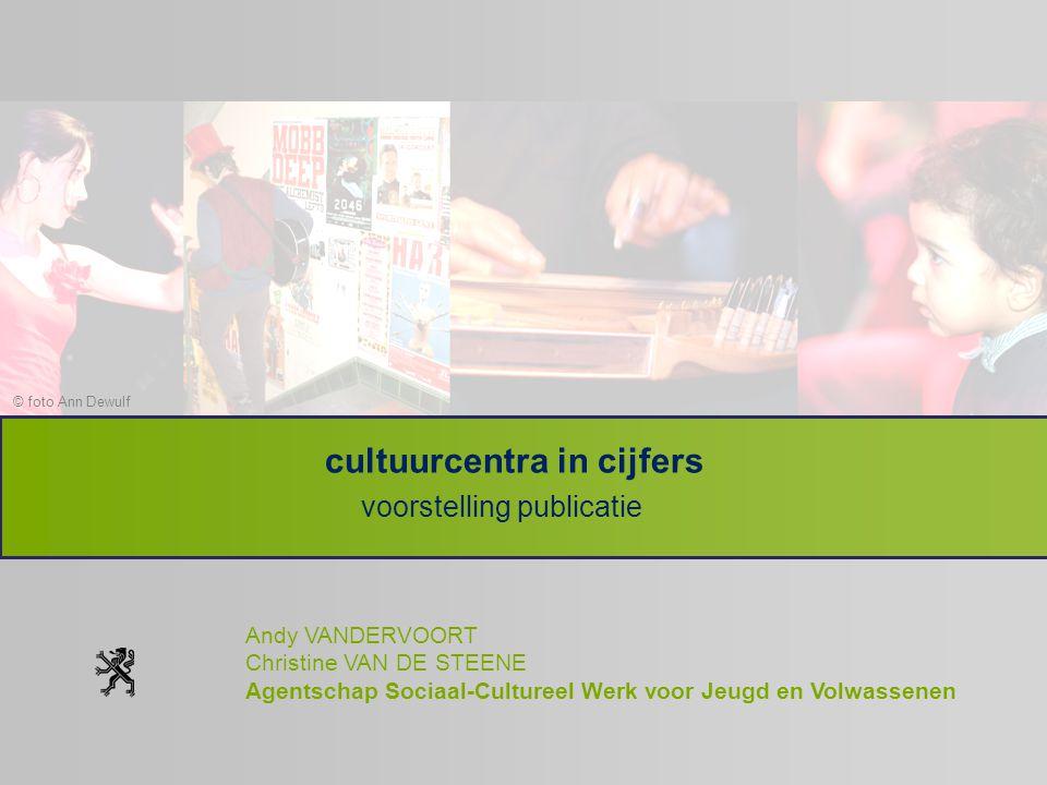 © foto Ann Dewulf cultuurcentra in cijfers voorstelling publicatie Andy VANDERVOORT Christine VAN DE STEENE Agentschap Sociaal-Cultureel Werk voor Jeu