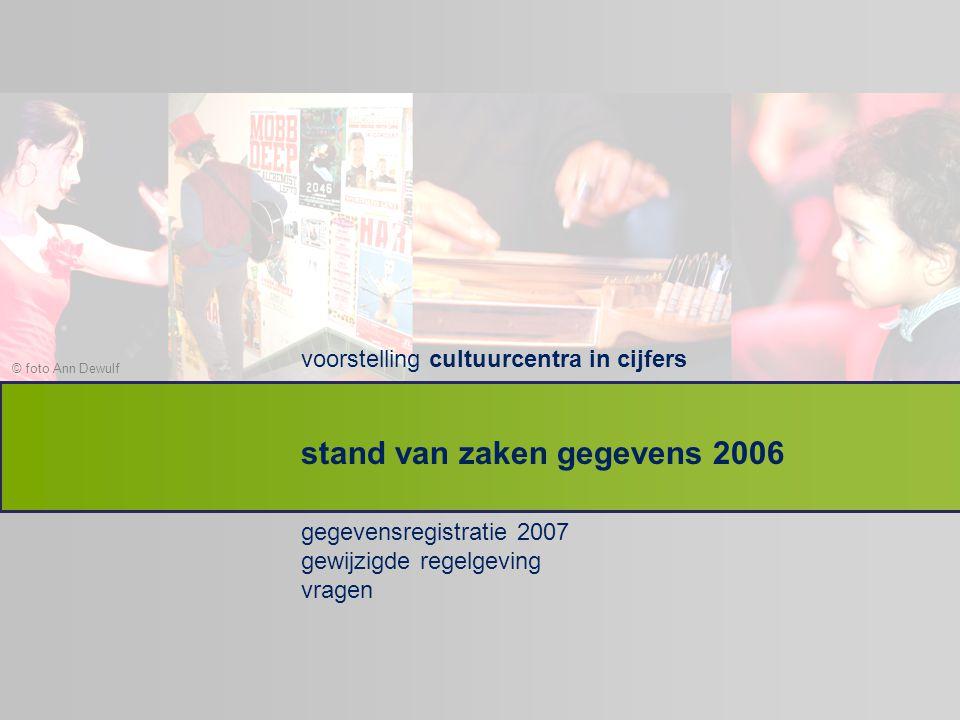 © foto Ann Dewulf voorstelling cultuurcentra in cijfers gegevensregistratie 2007 gewijzigde regelgeving vragen stand van zaken gegevens 2006