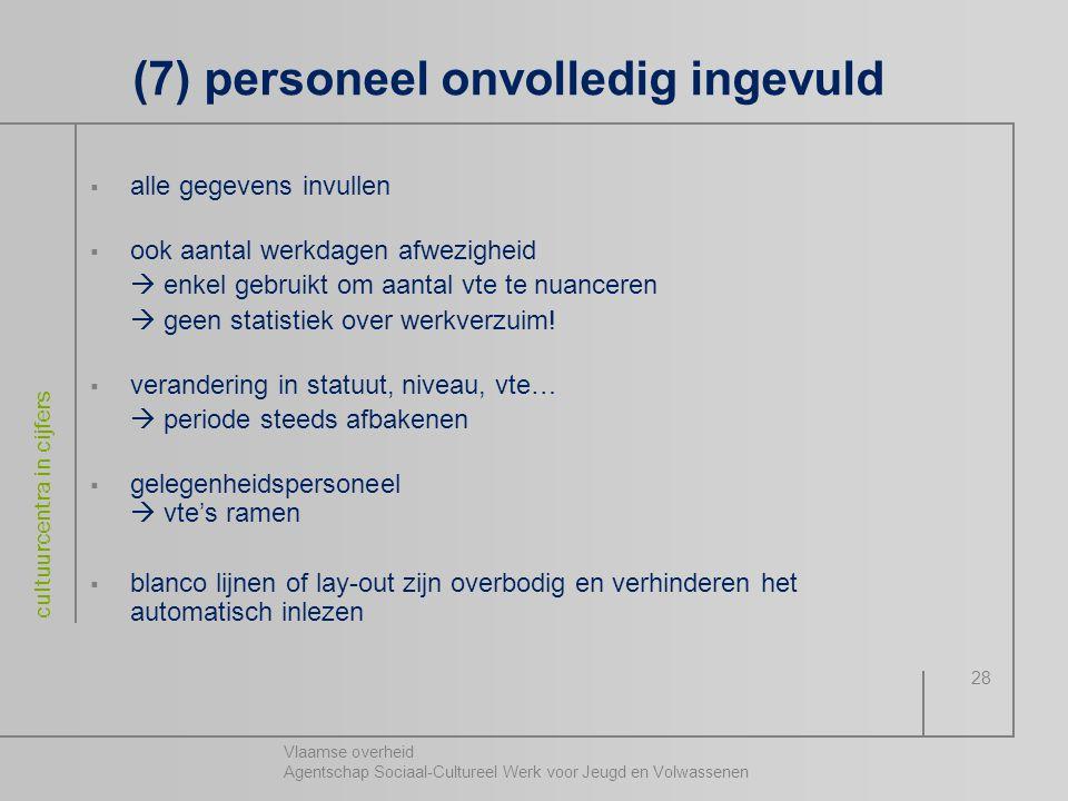 Vlaamse overheid Agentschap Sociaal-Cultureel Werk voor Jeugd en Volwassenen cultuurcentra in cijfers 28 (7) personeel onvolledig ingevuld  alle gege